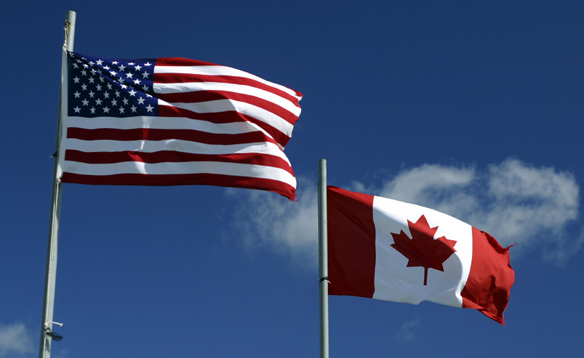 US and Canadian Flags