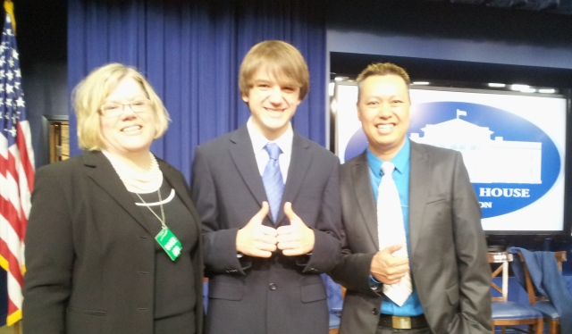 Lisa Fields, Jack Andraka and Colin Hung at the White House
